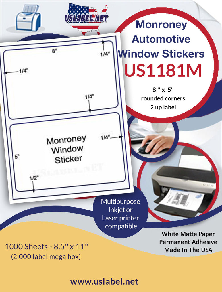 "US1181M-8 '' x  5'' - 2 up Monroney label with gutter on a 8 1/2"" x 11"" laser sheet. - uslabel.net - The Label Resource Center"