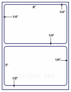 "US1181-8 ''x 5''-2 up w/ gutter - 8 1/2""x11"" label sheets"