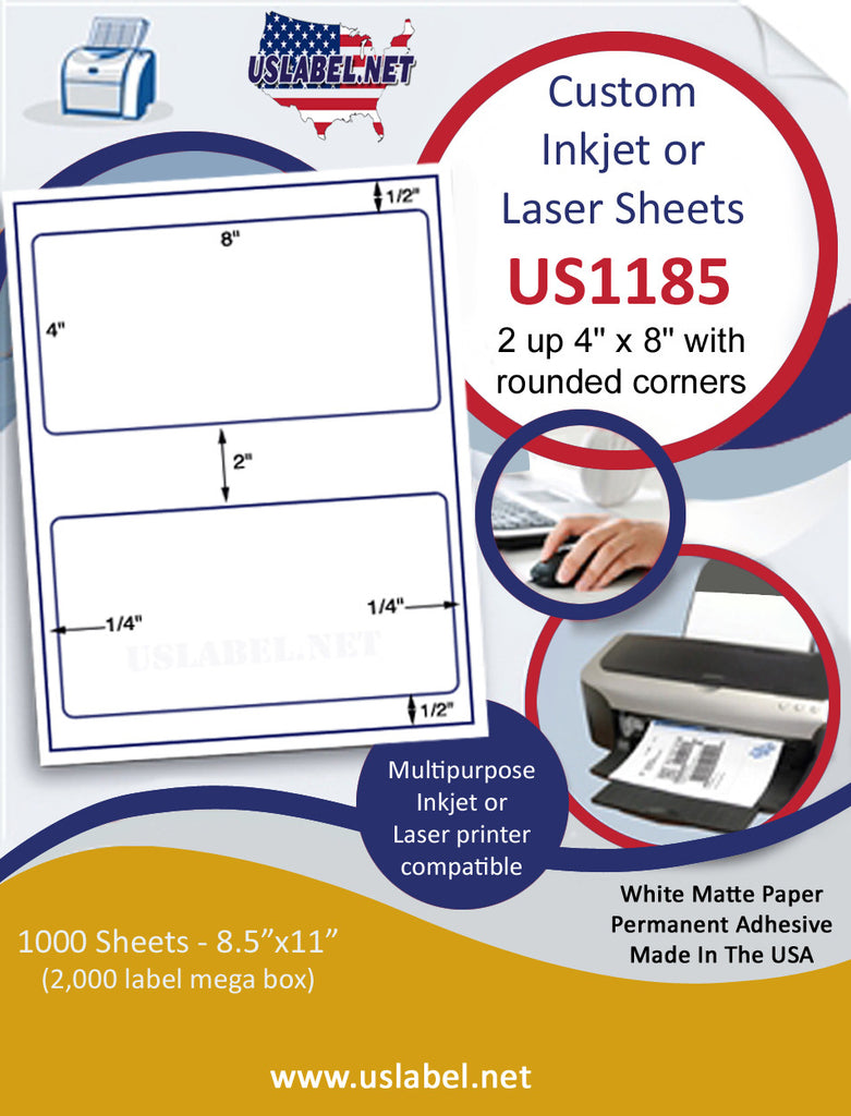"US1185 - 2 up 4'' x 8'' with rounded corners on a 8 1/2"" x 11"" inkjet and laser label sheets. - uslabel.net - The Label Resource Center"