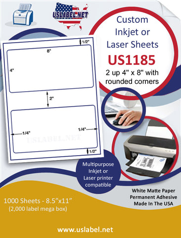 "US1185 - 2 up 4'' x 8'' with rounded corners on a 8 1/2"" x 11"" inkjet and laser label sheets."