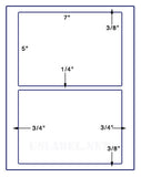 "US1190 - 5'' x 7''- 2 up w/ gutters 8 1/2""x11"" label sheet"