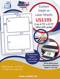 "US1195 - 4.75'' x 6.75''2 up on a 8 1/2"" x 11""inkjet and laser label sheet. - uslabel.net - The Label Resource Center"