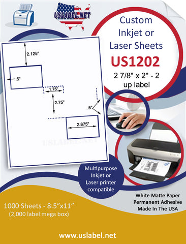 "US1202 - 2 7/8'' x 2'' - 2 up label on a 8 1/2"" x 11"" inkjet and laser label sheet."