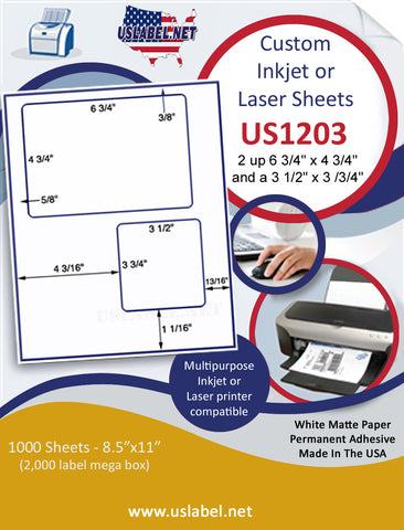 "US1203 - USPS Click & Ship© - 2 up on a 8 1/2"" x 11"" inkjet and laser label sheet."
