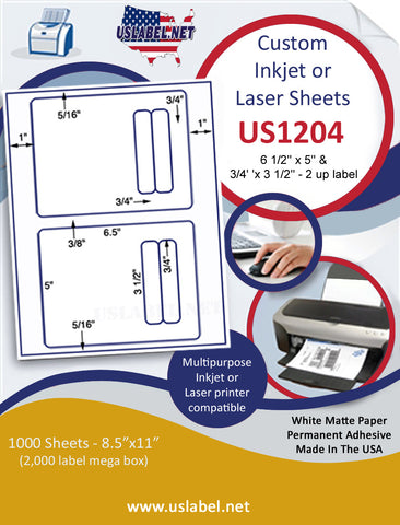 "US1204 - 6 1/2'' x 5'' & 3/4''x 3 1/2'' - 2 up label on a 8 1/2"" x 11"" inkjet and laser sheet."
