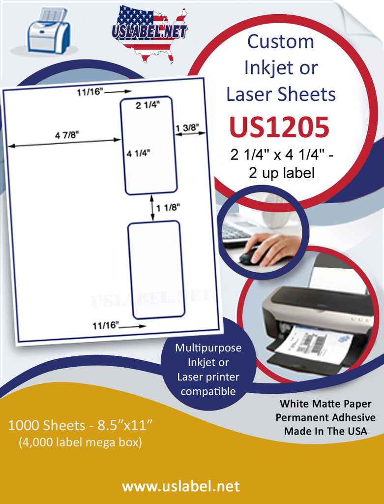 "US1205 - 2 up 2 1/4'' x 4 1/4'' label on a 8 1/2"" x 11"" inkjet and laser sheet. - uslabel.net - The Label Resource Center"