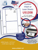 "US1208 - 5.5'' x 5.5'' - 2 up square on a 8 1/2"" x 11"" inkjet and laser label sheet. - uslabel.net - The Label Resource Center"