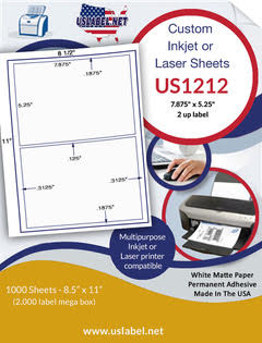 "US1212 - 7.875'' x 5.25'' - 2 up label  on a 8 1/2"" x 11"" inkjet and laser sheet."