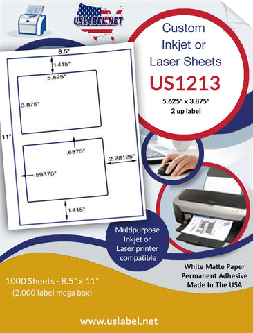 "US1213 - 5.625""  x 3.875"" - 2 up labelon a 8 1/2""  x 11"" inkjet and laser sheet."
