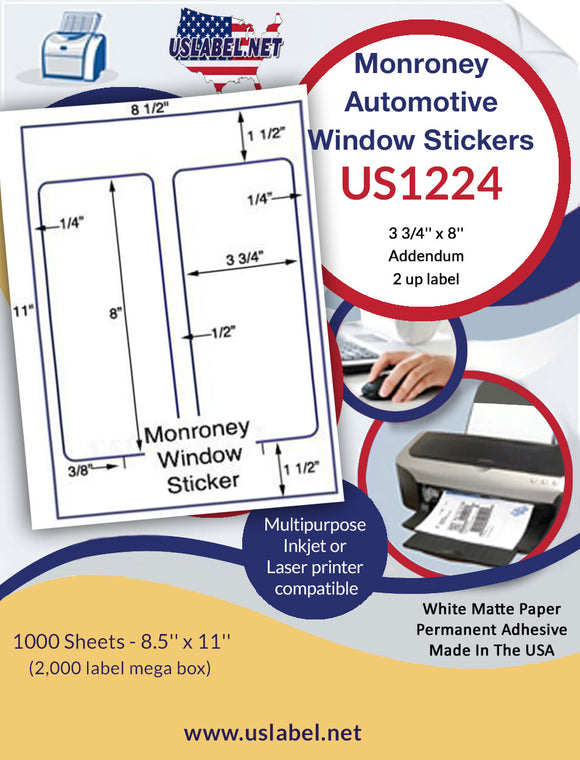 US1224   3 3/4'' x 8''  Monroney Addendum Window Stickers - uslabel.net - The Label Resource Center