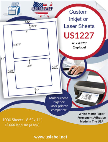 "US1227 - 2 up 6'' x 4.375"" on a 8.5"" x 11"" label sheet."