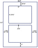 "US1227 - 2 up 6'' x 4.375"" on a 8.5"" x 11"" label sheet. - uslabel.net - The Label Resource Center"