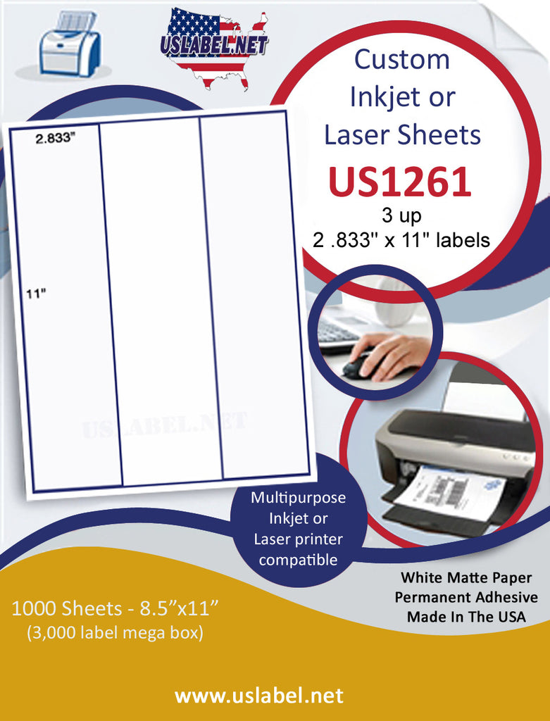 "US1261 - 3 up 2 .833'' x 11"" on a 8 1/2"" x 11"" inkjet and laser sheet. - uslabel.net - The Label Resource Center"