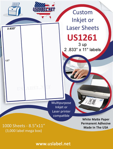 "US1261 - 3 up 2 .833'' x 11"" on a 8 1/2"" x 11"" inkjet and laser sheet."