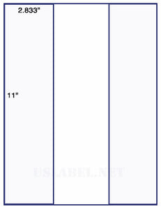 "US1261-3 up 2 .833'' x 11"" on a 8 1/2"" x 11"" label sheet."