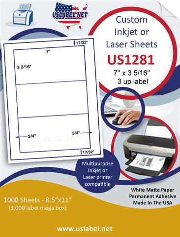 "US1281 - 7'' x 3 5/16'' - 3 up label on a 8 1/2"" x 11"" inkjet and laser sheet."