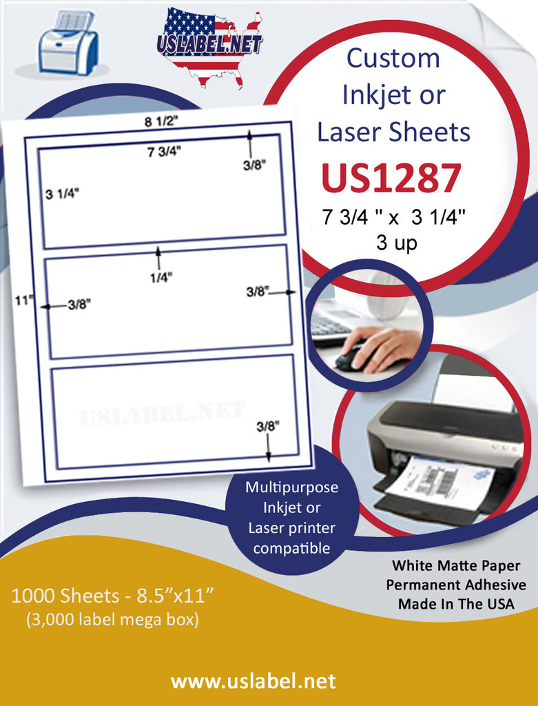 "US1287 - 7 3/4 '' x 3 1/4'' - 3 up on a 8 1/2"" x 11"" inkjet and laser sheet. - uslabel.net - The Label Resource Center"