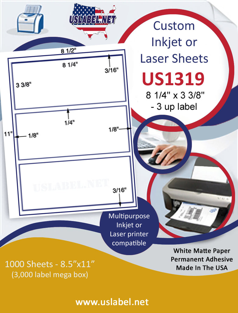 "US1319 - 8 1/4'' x 3 3/8'' - 3 up on a 8 1/2"" x 11"" inkjet and laser sheet. - uslabel.net - The Label Resource Center"