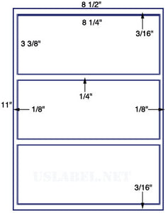"US1319-8.25'' x 3.375''-3 up on a 8 1/2"" x 11"" label sheet."