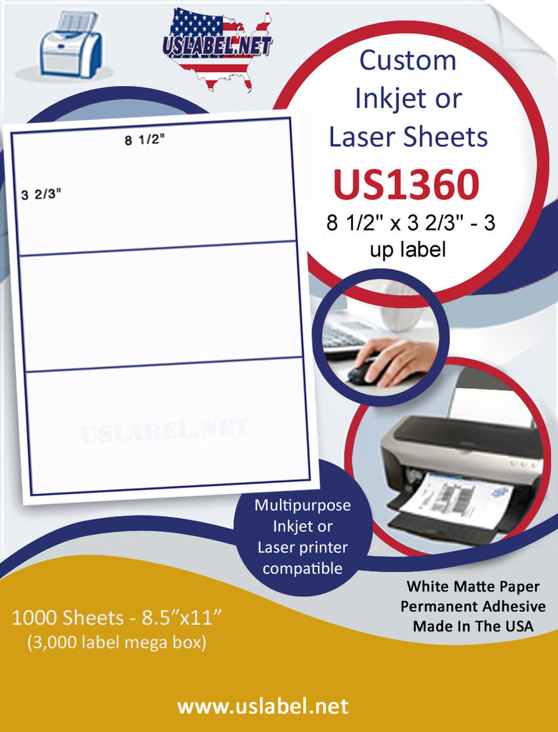 "US1360 - 8 1/2'' x 3 2/3''- 3 up on a 8 1/2"" x 11"" inkjet and laser sheet. - uslabel.net - The Label Resource Center"