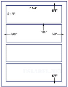 "US1378-7 1/4'' x 2 1/4''-4 up on a 8.5"" x 11"" label sheet."