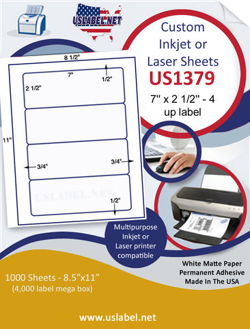 "US1379 - 7'' x 2 1/2'' label 4 up on a 8 1/2"" x 11"" inkjet and laser sheet"