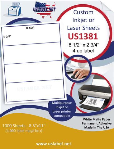"US1381 - 8 1/2'' x 2 3/4'' - 4 up label on a 8 1/2"" x 11"" inkjet and laser label sheet."
