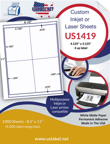 "US1419 - 4.125'' x 5.125''- 4 up label on a 8 1/2"" x 11"" label sheet."
