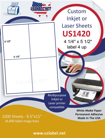 "US1420 - 4 1/4'' x 5 1/2''- 4 up label on a 8 1/2"" x 11"" inkjet and laser label sheet."