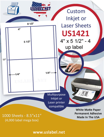 "US1421 - 4'' x 5 1/2' label on a 8 1/2"" x 11"" inkjet and laser label sheet."