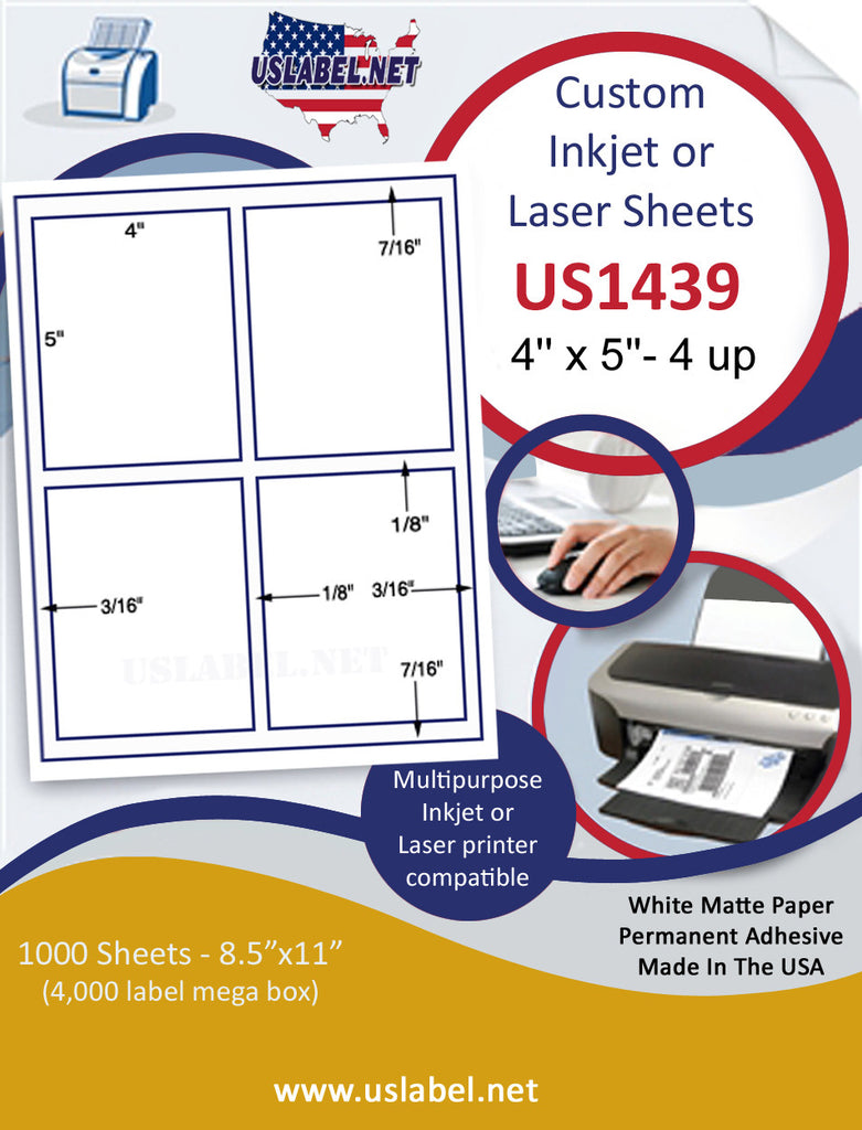 "US1439-4'' x 5''- 4 up Sq corner label with gutters on a 8 1/2"" x 11"" inkjet and laser label sheet."
