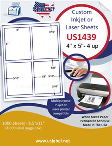 "US1439-4''x5''-4 up Sq cor. w/gutters 8.5""x11"" label sheet."
