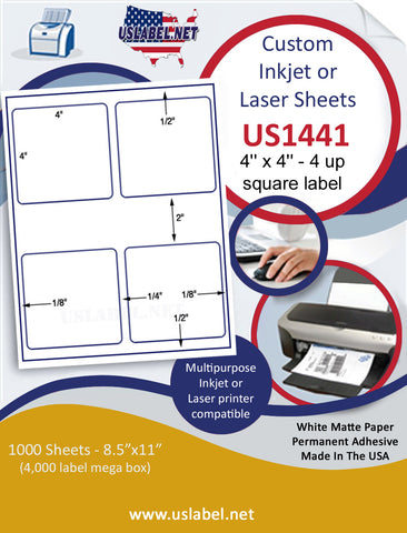 "US1441 - 4'' x 4'' - 4 up square label on a 8 1/2"" x 11"" Inkjet or Laser label sheet."