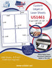 "US1461- 3 3/4'' x 4 1/2'' - 4 up label on a 8 1/2"" x 11"" iinkjet or laser label sheet."