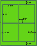 "US1461-3.75''x4.5''-4 up on 8 1/2""x11"" label sheet."
