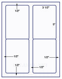 "US1481 - 3 1/2'' x 5''- 4 up # 5168 label on a 8 1/2"" x 11"" label sheet."