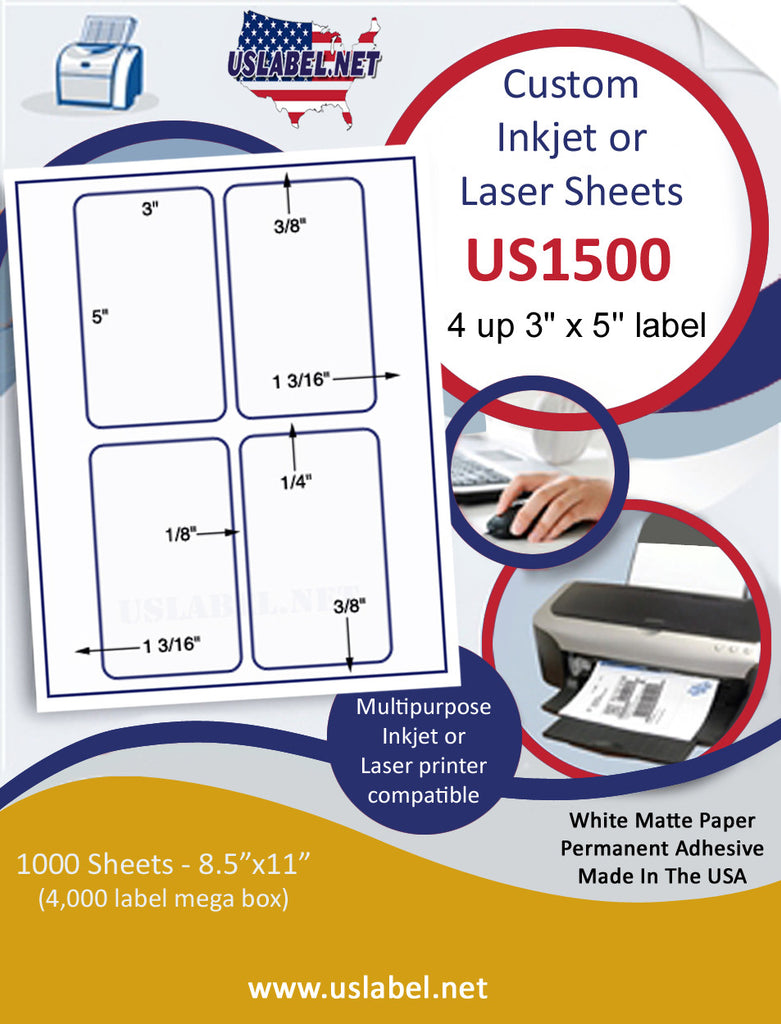 "US1500 - 3'' x 5'' - 4 up label on a 8 1/2"" x 11""  Inkjet or Laser sheet. - uslabel.net - The Label Resource Center"