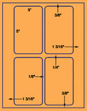 "US1500-3'' x 5''-4 up on a 8 1/2"" x 11"" label sheet."