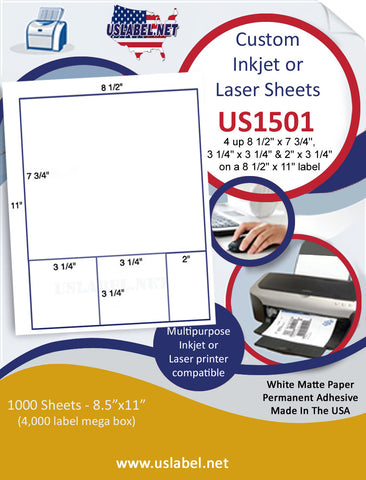 "US1501 - 8 1/2'' x 7 3/4'' - 3 1/4'' x 3 1/4'' & 2'' label on a 8 1/2"" x 11"" inkjet and laser sheet."