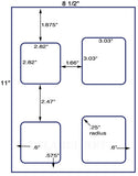 "US1503 - 2.82"" and 3.03"" Square labels on a 8 1/2"" x 11"" sheet. - uslabel.net - The Label Resource Center"
