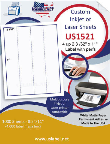 "US1521 - 2 3/32'' x 11'' - 4 up label with perfs on a 8 1/2"" x 11"" inkjet or laser sheet."