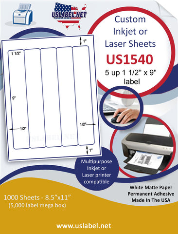 "US1540 - 1 1/2'' x 9'' - 5 up label on a 8 1/2"" x 11"" inkjet or laser sheet."