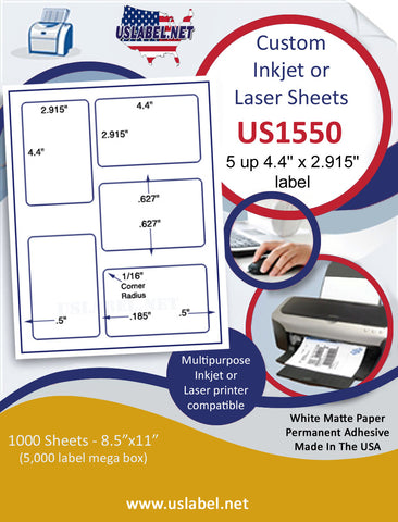"US1550 - 4.4'' x 2.915'' - 5 up label on a 8 1/2"" x 11"" inkjet or laser sheet."