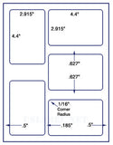 "US1550-4.4'' x 2.915''-5 up on a 8 1/2"" x 11"" label sheet."