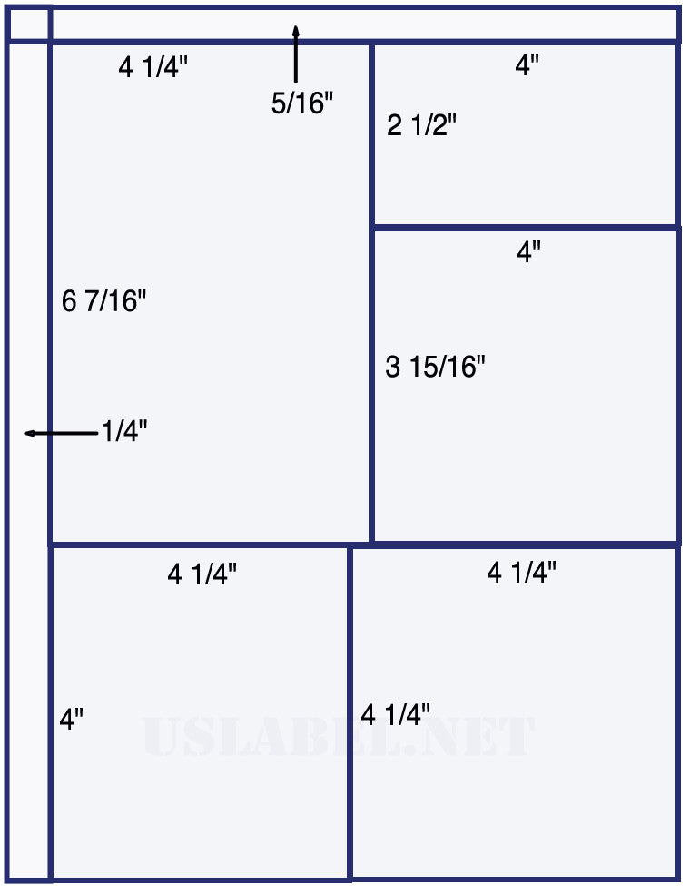 "US1555 - 4 1/4'' x 6 7/16'',4""x2 1/2"" and 2 x 4 1/4"" x 4"" labels."