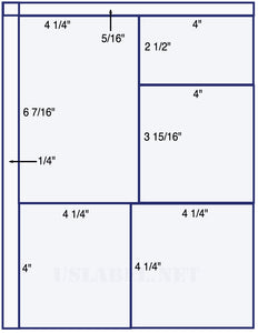 "US1555 - 4 1/4'' x 6 7/16'',4""  x2 1/2"" and 2 x 4 1/4""  x 4"" labels. - uslabel.net - The Label Resource Center"