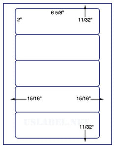 "US1580-6 5/8''x2''-5 up on a 8 1/2"" x 11"" label sheet."