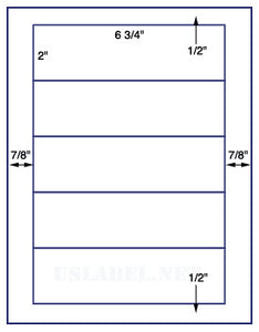 "US1593-6 3/4'' x 2''- 5 up on a 8 1/2"" x 11"" label sheet."