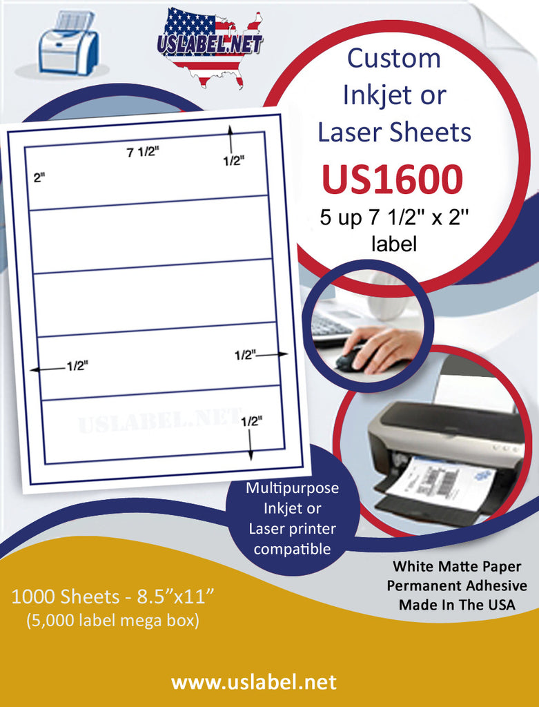 "US1600 - 7 1/2'' x 2'' - 5 up label on a 8 1/2"" x 11"" inkjet or laser sheet. - uslabel.net - The Label Resource Center"