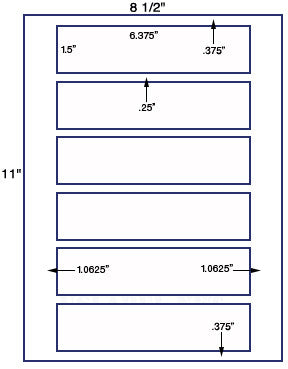 "US1619 - 6.375'' x 1.5'' - 6 up label on a 8 1/2"" x 11"" label sheet."